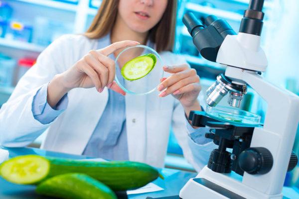 Frau mit Gurke im Labor