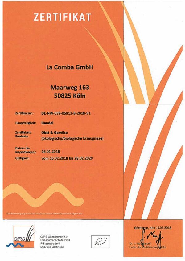 Bio Zertifikat La Comba