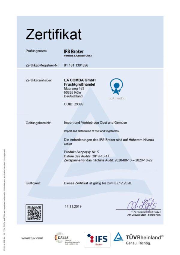 IFS Zertifikat La Comba