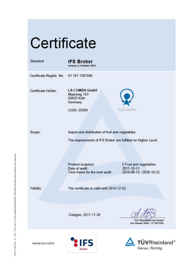 IFS Certificate La Comba