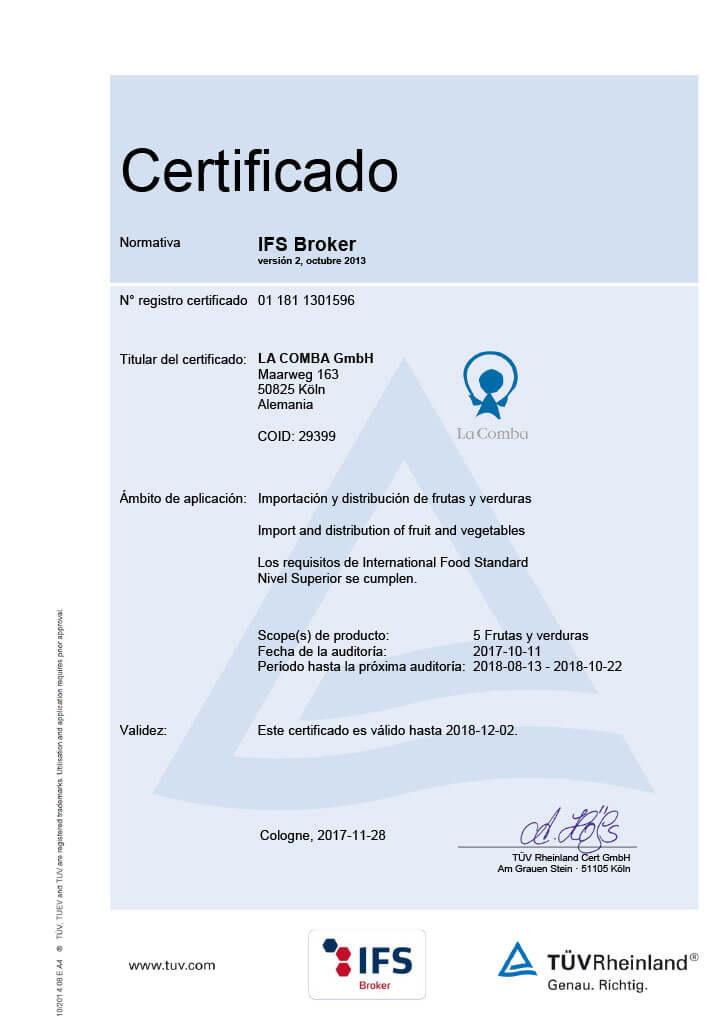 IFS Certificado La Comba